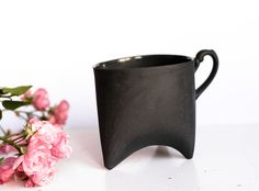 Ceramic mug, black china cup, ceramic cup handbmade coffee cup or tea cup by Endesign.  via Etsy.