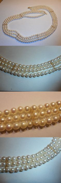 Necklaces and Pendants 165042: 14K Gold Clasp And Bars Vintage 3 Strand 6Mm Cultured Pearl Necklace Unused Mint -> BUY IT NOW ONLY: $199.99 on eBay!