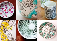 hand painted tea cups and mugs from Etsy- I'd use a Sharpie to make it DIY! Pottery Painting, Ceramic Painting, Diy Painting, Ceramic Art, Diy Décoration, Dyi, Painted Cups, Hand Painted, Pebeo Porcelaine 150