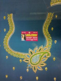 dsn Tambour Embroidery, Embroidery Works, Machine Embroidery, Col Crochet, Maggam Work Designs, Hand Work Blouse Design, Embroidery Neck Designs, Silk Saree Blouse Designs, Peacock Design