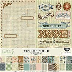 Authentique Papel Kit de papel para manualidades (30,4x 30,4cm, LEGACY