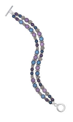 """""""Satin and Silver"""" bracelet features Czech glass beads and sterling silver beads. Subtle, satin finished blue and purple-colored Czech glass druk beads are used to make a fluid two-strand sterling silver bracelet design that will beguile your style. - Fire Mountain Gems and Beads"""