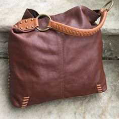 929246010447 Lucky brand brown leather purse whipstitch slouchy large tote  EUC