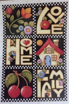 Handmade Fridge Magnet-Mary Engelbreit Artwork-Love-Home-Family