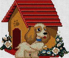 Perro con su caseta en punto de cruz  www.nacaranta.com