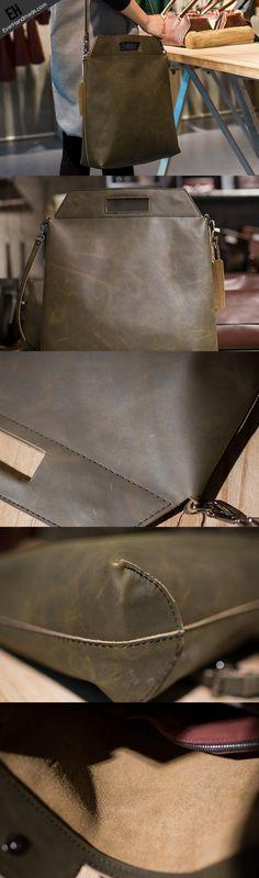 Handmade Leather big handbag dark green for women leather shoulder bag vintage