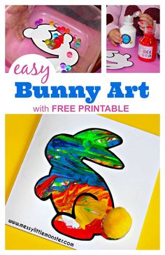 You have to try this easy bunny craft for kids with free printable bunny template. This bunny rabbit art activity is so much fun for toddlers and preschoolers and it makes the perfect Easter or Spring craft project. Easter Crafts For Toddlers, Crafts For 2 Year Olds, Spring Crafts For Kids, Craft Activities For Kids, Toddler Crafts, Art For Kids, Rabbit Crafts, Bunny Crafts, Rabbit Art