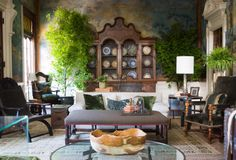 2014 ASO DECORATORS' SHOW HOUSE: Grand Salon by Barbara Westbrook. The walls are painted linen and almost 100 years old. They are stunning! The trees add to the old world feeling. Via Design Indulgence blog