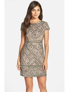 美国代购2015 Adrianna Papell 女士钉珠网纱紧身连衣裙