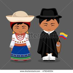 Illustration of Ecuadorians in national dress with a flag. Man and woman in traditional costume. Travel to Ecuador. People Illustration, Flat Illustration, Costumes Around The World, Indian Bridal Fashion, Equador, Thinking Day, En Stock, Vintage Paper Dolls, People Around The World