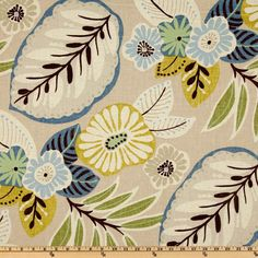 Richloom Tracey Beachcomber Drapery Fabric & Upholstery Fabric By The Yard Motifs Textiles, Textile Patterns, Textile Design, Fabric Design, Print Patterns, Floral Patterns, Motif Floral, Arte Floral, Floral Fabric