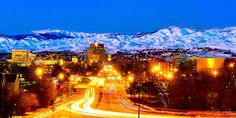 Snowy shot of Boise at night
