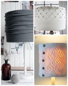 DIY Lampshade from old sweaters::::DIY:::::sweatlamp Collage:::::environment::::::recycle