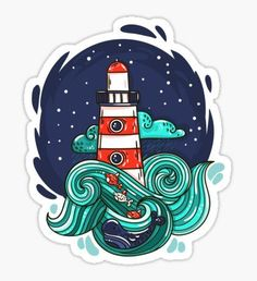 """""""Lighthouse"""" Stickers by evasabrekova Stickers Cool, Bubble Stickers, Printable Stickers, Laptop Stickers, Planner Stickers, Arte Sketchbook, Lettering Styles, Aesthetic Stickers, Magazine Art"""