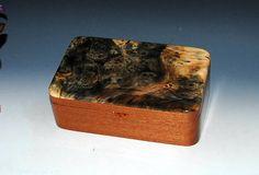 Handmade Wood Stash Box Desk Box Jewelry Box in Mahogany with Buckeye Burl by BurlWoodBox - Handmade Wood Boxes - Gift Box Wooden Box by BurlWoodBox