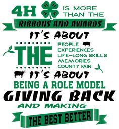 IZA DESIGN custom 4-H club shirts.  4-H Club T-Shirt Design - 4H is About (cool-340i1).  Specializing in custom 4-H club shirts for 30 years.