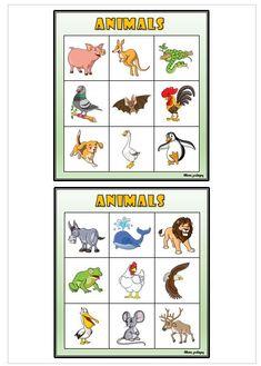 24 bingobrickor med 9 djur på varje bricka Bingo, Comics, Animals, Animales, Animaux, Animal, Cartoons, Animais, Comic