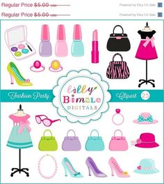 50% off Fashion Party Clipart with Purses Makeup by LillyBimble (Art & Collectibles, Clip Art, fashionista, fashion, party, girls, dress, dressform, high heels, clipart, clip art, nail polish, make up, jewelry, pastel)