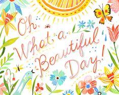 Oh what a Beautiful Day! The Wheatfield by Katie Daisy via Etsy.via Etsy. Acrylic Artwork, Bird Artwork, What A Beautiful Day, Beautiful Day Quotes, Beautiful Morning, Peaceful Quotes, Beautiful Things, Daisy Art, Watercolor Quote