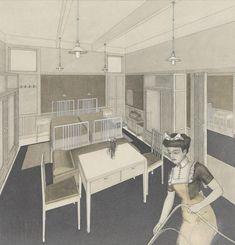Otto Wagner, Projekt Hotel Wien, Hotelzimmer, Zeichnung, 1913 ©Wien Museum