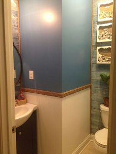 i first solo project guest bathroom blah to beachy, bathroom ideas, home maintenance repairs, paint colors