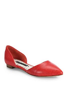 Alice + Olivia - Hilary Lizard-Embossed Leather D'Orsay Flats