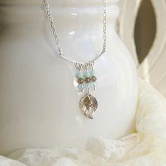 21bb226f59e55 Collier en argent massif, pendentif feuille, cristal de swarovski, ref 148  http