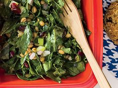Wheat Berry, Kale, and Cranberry Salad | Fresh takes with America's favorite green! Curly and Lacinato leaves are hearty, so plan to massage those leaves a bit to make them easier to eat. If you want straight-from-the-bag greens that are ready for the plate, look for baby kale leaves instead. This collection of our favorite kale salads also features tips for making sure the salad you plate is the best it can be. If you don't have kale but love the flavors of the salad, substitute for…