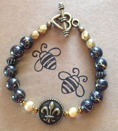 Black and Antique Gold with Fleur de Lis  Beaded by DungleBees, $25.00