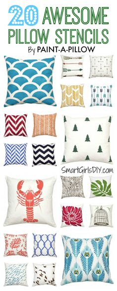 Smart Girls DIY -- 20 Top Picks for Pillow Stencils by Paint-A-Pillow