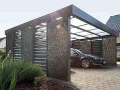 What are carport designs ? - Decorifusta A carport is a structure primarily constructed to keep vehicles from other elements. These help protect the car temporarily from objects or situations that are not conducive for the functionality of t Carport Modern, Double Carport, Carport Garage, Pergola Carport, Double Garage, Pergola Shade, Garage Workbench, Small Garage