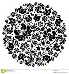 Kalocsai Folk Art Embroidery - Black Hungarian Round Floral Folk Pattern Stock Vector - Image: 68465547