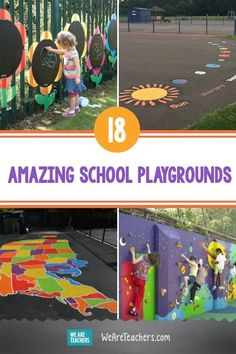 These 18 Awesome School Playgrounds Make Recess More Fun Than Ever. From water walls to junk orchestras, sensory paths to balance mazes, these school playgrounds make recess a real adventure. Kids Outdoor Play, Outdoor Learning, Outdoor Fun, Tire Playground, Playground Games, Buddy Bench, Recess Games, Natural Play Spaces, Water Walls