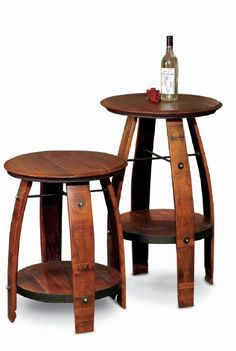 2-Day Designs Stave stool with wood seat
