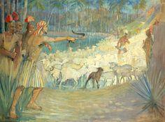 Ammon saves the flocks of King Lamoni from thieves. Art by Minerva Teichert