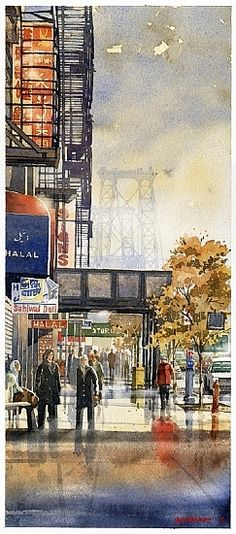 "Delancey to the Williamsburg Bridge by Iain Stewart Watercolor ~ 20"" x 8.5"""