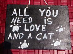 Sign Plaque Cat or dog pet love gift primitive rustic home decor wall art Wood