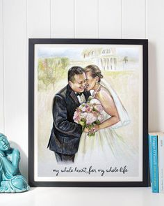 Custom Watercolor Portrait, Husband and Wife, Wedding Painted Portrait, Wedding Gift, Anniversary Gift, Bride and Groom,