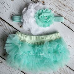 Mint White Baby Bloomers Flower Headband Set Newborn Take Home Outfit Photography Prop 0 3 months Chiffon Ruffles