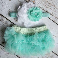 Mint White Baby Bloomers Flower Headband Set Newborn Take Home Outfit Photography Prop 0 3 months Chiffon Ruffles