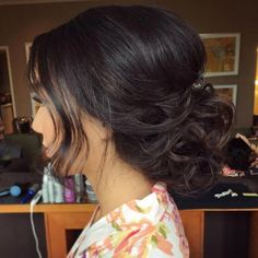 Wedding Hairstyles Medium Hair Low Curly Updo With A Bouffant - Easy Updo Hairstyles, My Hairstyle, Wedding Hairstyles For Long Hair, Elegant Hairstyles, Wedding Hair And Makeup, Hair Wedding, Gorgeous Hairstyles, Curly Wedding Updo, Wedding Bangs