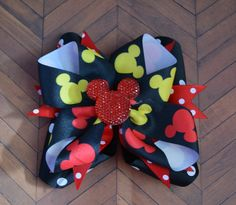 A personal favorite from my Etsy shop https://www.etsy.com/listing/119860606/mickey-mouse-inspired-hairbow-disney