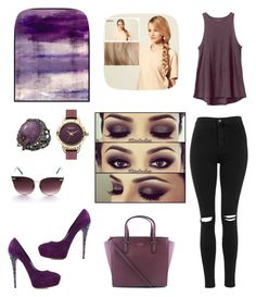 """purple"" by susanazizumbo on Polyvore featuring Topshop, Kate Spade, Casadei, RVCA, Universal Lighting and Decor, Hershesons, Wendy Yue, Barbour, women's clothing and women"