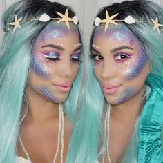 Be a mermaid princess by following the lead of this insanely magical Halloween makeup tutorial.