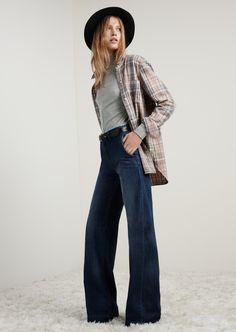 madewell trouser jeans worn with the backcountry belt, ex-boyfriend shirt in camden plaid, lyricist funnelneck top + madewell & biltmore® straight-brim felt fedora. #denimmadewell