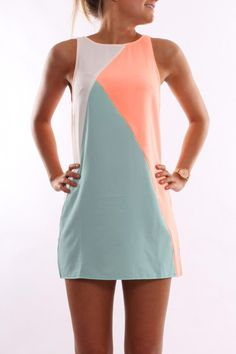 gorgeous but too short for work. Orange Blue Sleeveless Color Block Dress