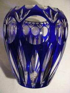 German Cobalt Blue bohemian Crystal Vase hand cut.