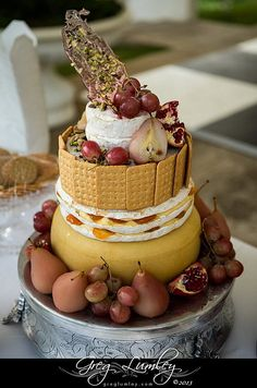 for those that want something completely different--Contemporary cheese wedding cake Different Wedding Cakes, Cool Wedding Cakes, Wedding Cake Toppers, Wedding Decor, Wedding Ideas, Wedding Blog, Wedding Stuff, Dream Wedding, Wedding Inspiration