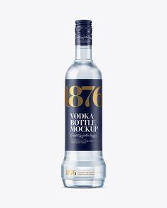 Blue Glass Vodka Bottle Mockup