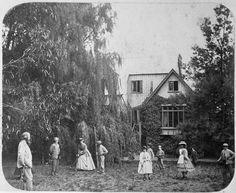 Women and men playing croquet, Canterbury, 1860s